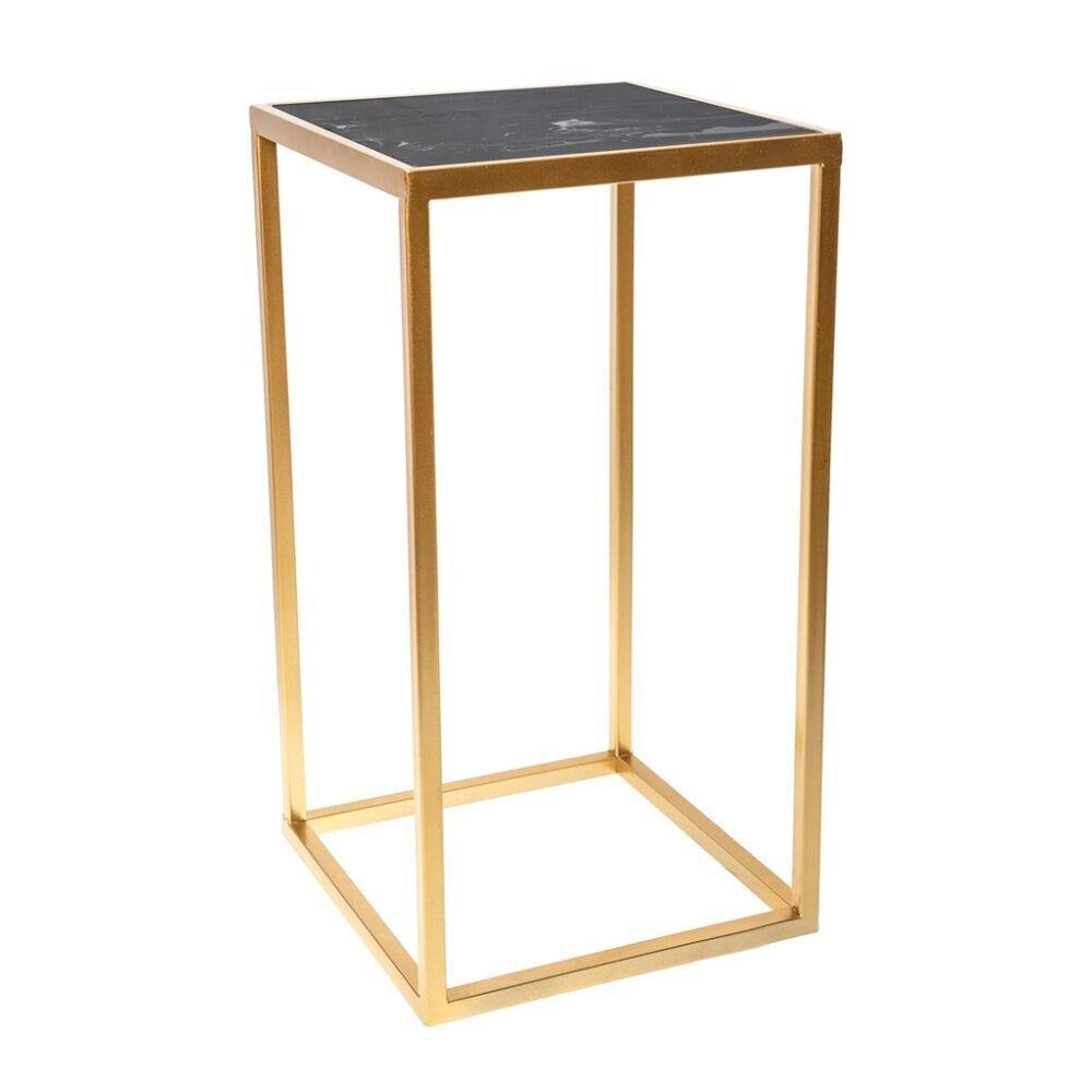 Столик интерьерный с чёрным мрамором Glasar 31x31x59 см
