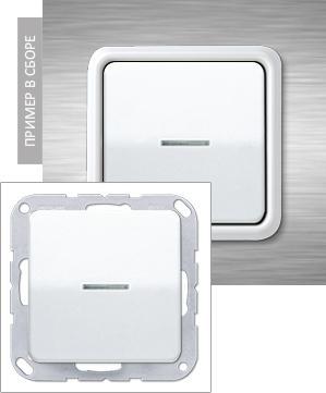 Описание Выключатель одноклавишный перекрёстный с подсветкой Jung CD