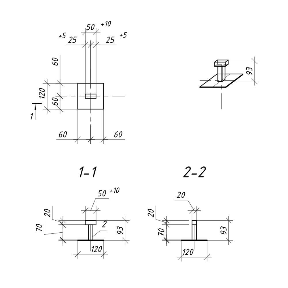 Описание Закладная под бетонирование 120х120 мм h-90 мм