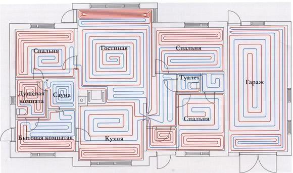 Вариант системы теплого пола в доме