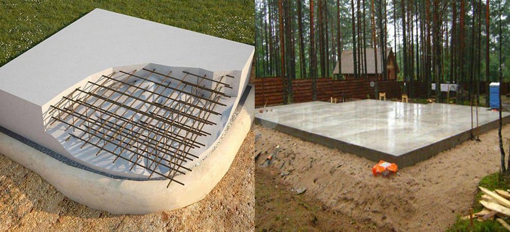 Схематичное изображение плитного фундамента