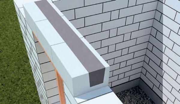 заливка и выравнивание бетонной смеси перемычки